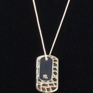 Ralph Lauren Silver Double Dog Tag Slider Necklace